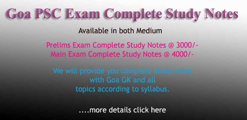 Goa PSC Complete Study Notes